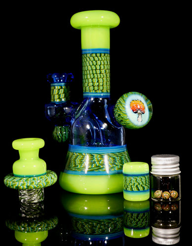 Conversion Double Dose and Blue Dream UV Mushroom Coil Pot Tube + Spinner Cap + Terp Pearls + Bead Set