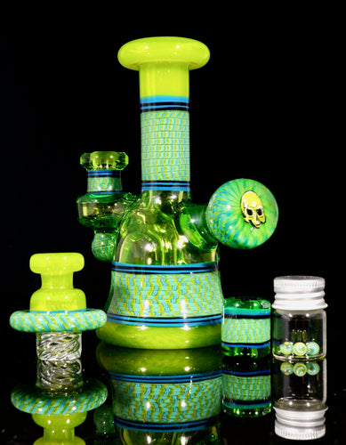 Conversion Limeade and Krippy Skull Coil Pot Tube + Spinner Cap + Terp Pearls + Bead Set