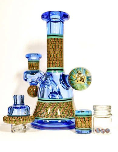 Conversion Blue Dream Owl Coil Pot Tube + Spinner Cap + Terp Pearls + Bead Set