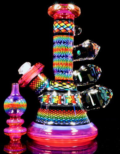 Kevin Murray & Grampa Facets Telemagenta Rainbow Tube + Bubble Cap + Terp Pearl