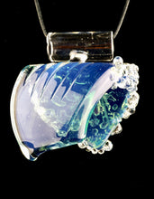 Black Sand Glass Large Blue Slyme Wave Pendant + Cord