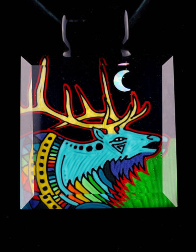 Kevin Murray & Grampa Facets Rainbow Night Elk Pendant
