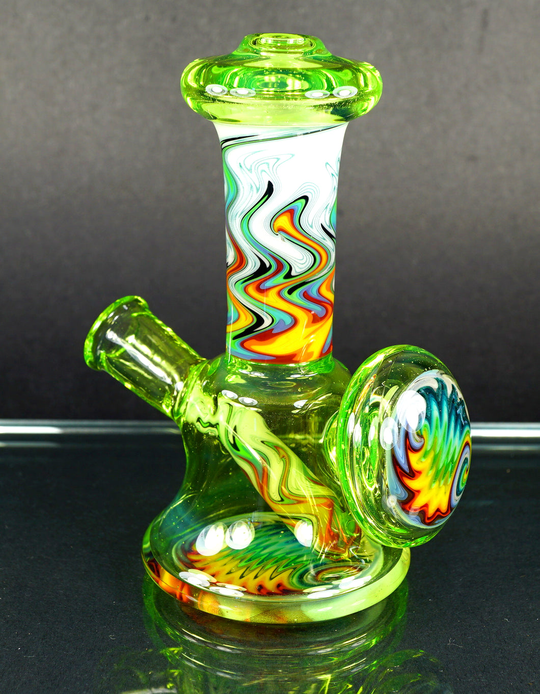 Gus Glass Subslime Green & Rainbow Fire Wig Wags Micro
