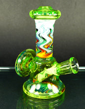 "Gus Glass Subslime Green & Rainbow Fire Wig Wags Micro ""Tower"" w/ Rainbow Fire Back Shield"