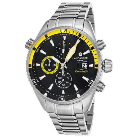 Lancaster Italy Men's Cheyenne Chronograph Stainless Steel Black Dial Yellow - LANCASTER-OLA1066MB-SS-NR-GL - Realforlesscorp