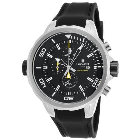 Lancaster Italy Men's Space Shuttle Chronograph Black Silicone Black Dial - LANCASTER-OLA1065L-SS-NR-NR - Realforlesscorp