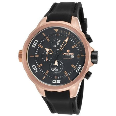 Lancaster Italy Men's Space Shuttle Chronograph Black Silicone and Dial Rose-Tone - LANCASTER-OLA1065L-RG-NR-NR - Realforlesscorp