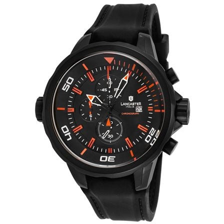 Lancaster Italy Men's Space Shuttle Chronograph Black Silicone and Dial Orange - LANCASTER-OLA1065L-BK-NR-AR-NR - Realforlesscorp