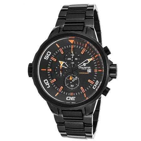 Lancaster Italy Men's Space Shuttle Chrono Black Ion Plated SS & Dial Orange - LANCASTER-OLA1085MB-BK-AR-NR - Realforlesscorp
