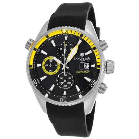 Lancaster Italy Men's Cheyenne Chronograph Black Silicone and Dial Stainless - LANCASTER-OLA1066S-SS-NR-GL-NR - Realforlesscorp