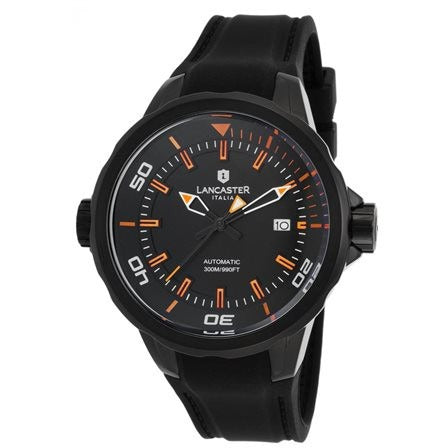 Lancaster Italy Men's Space Shuttle Automatic Black Silicone & Dial Orange Watch - LANCASTER-OLA1089L-BK-NR-AR-NR - Realforlesscorp