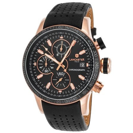 Lancaster Italy Men's Admiral Chronograph Black Genuine Leather and Dial Rose-Tone - LANCASTER-OLA1067L-RG-NR-NR - Realforlesscorp