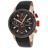 Lancaster Italy Men's Admiral Chronograph Black Genuine Leather Black Dial - LANCASTER-OLA1067L-RG-NR-RS-NR - Realforlesscorp