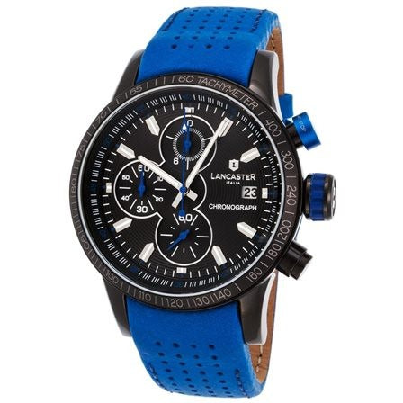 Lancaster Italy Men's Admiral Chronograph Blue Genuine Leather Black Dial - LANCASTER-OLA1067L-BK-NR-BL - Realforlesscorp