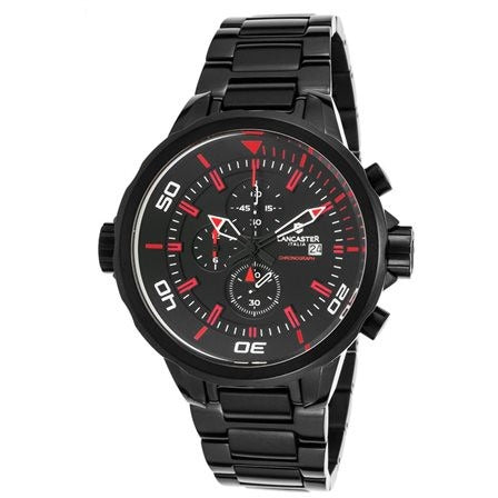Lancaster Italy Men's Space Shuttle Chronograph Black Ion Plated SS & Dial Red - LANCASTER-OLA1085MB-BK-RS-NR - Realforlesscorp