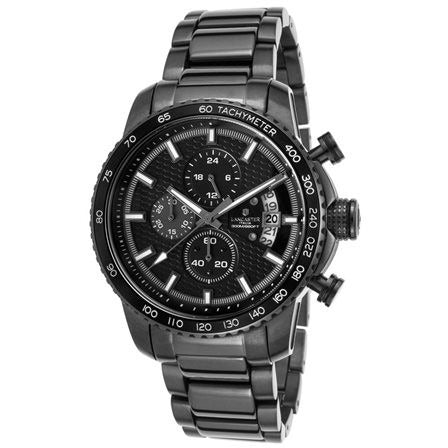 Lancaster Italy Men's Freedom Chrono Gunmetal Ion Plated Stainless Steel Black Dial Watch - LANCASTER-OLA1064MB-GR-NR-GR - Realforlesscorp