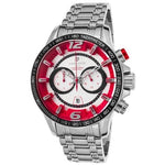 Lancaster Italy Men's Hurricane Chronograph Ss Silver-Tone Dial Red Accents Watch - LANCASTER-OLA1063MB-SS-RS - Realforlesscorp