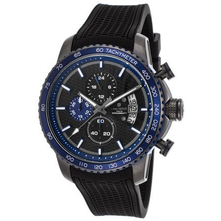Lancaster Italy Men's Freedom Chronograph Black Silicone and Dial Blue Accents - LANCASTER-OLA1064S-GR-BL-NR - Realforlesscorp