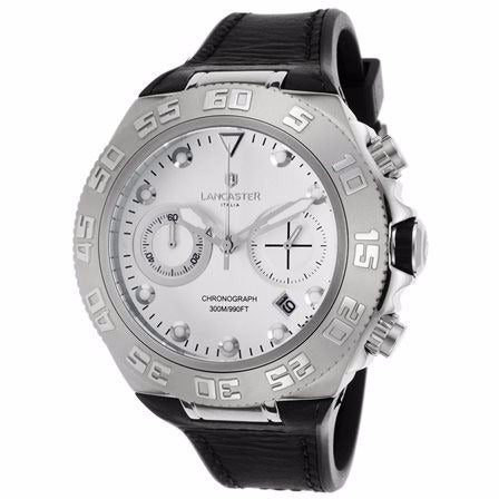 Lancaster Italy Men's Blue Ridge Chronograph Black Silicone White Dial Ss Watch - LANCASTER-OLA1061L-SS-BN-NR - Realforlesscorp