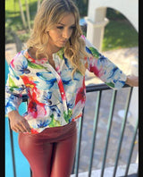 Sexy Printed V-Neck Blouse - Realforlesscorp