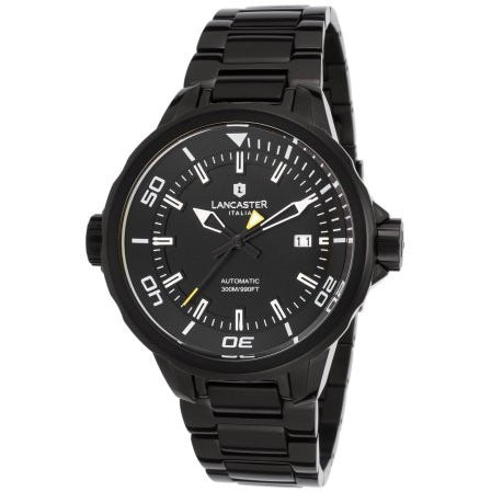 Lancaster Italy Men's Space Shuttle Automatic Black Ip Ss & Dial Yellow Accents Watch - LANCASTER-OLA1088MB-BK-RS-NR - Realforlesscorp