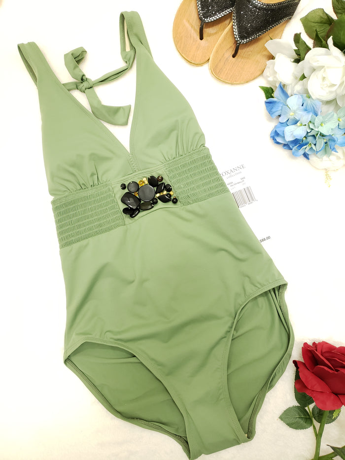 ROXANNE COLLECTION HALTER MAILLOT-N20526-SAGE / SIZES AVAIL - Realforlesscorp