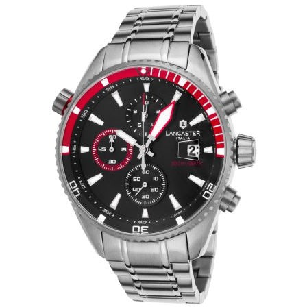 Lancaster Italy Men's Cheyenne Chronograph Stainless Steel Black Dial Red Accents Watch - LANCASTER-OLA1066MB-SS-NR-RS - Realforlesscorp