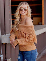 Brenna Fringe Off the Shoulder Sweater - Realforlesscorp