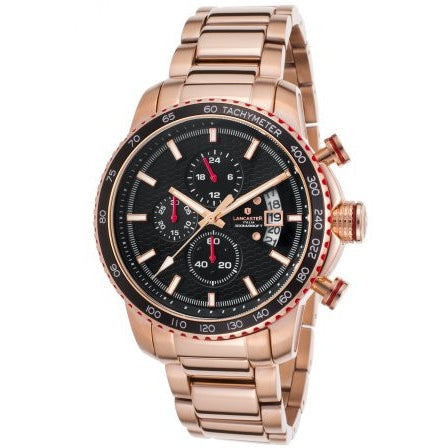 Lancaster Italy Men's Freedom Chronograph Rose-Tone Stainless Steel Black Dial Watch - LANCASTER-OLA1064MB-RG-NR - Realforlesscorp