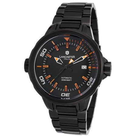Lancaster Italy Men's Space Shuttle Automatic Black Ip Ss & Dial Orange Accents Watch - LANCASTER-OLA1088MB-BK-AR-NR - Realforlesscorp