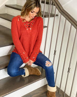 Taylor Lace-up Sweater - Realforlesscorp