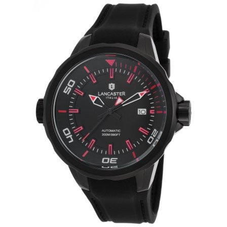 Lancaster Italy Men's Space Shuttle Automatic Black Silicone & Dial Red Accents Watch - LANCASTER-OLA1089L-BK-NR-RS-NR - Realforlesscorp