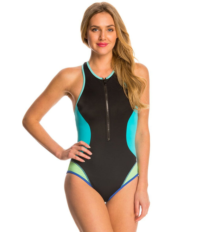 Tommy Hilfiger Women's Scuba Colorblock Hi Neck Zip One Piece Swimsuit - Realforlesscorp