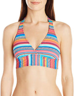 ANNE COLE SIGNATURE TRIANGLE STRIPE WIRE-FREE HALTER BIKINI TOP - Realforlesscorp
