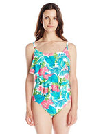Coco Reef Women's Congo Flower Ruffle Maillot Contour Shaper One Piece Swimsuit with Underwire - Realforlesscorp