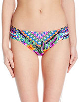 KENNETH Cole REACTION Women's Adventure Awaits Geometric Sash Tab Hipster Bikini Bottom with Side Shirring Multi - Realforlesscorp