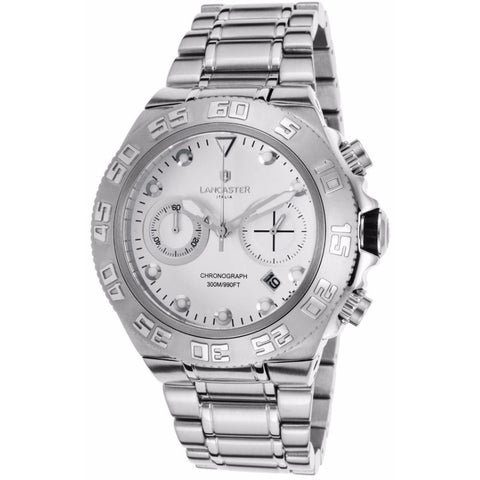 Lancaster Italy Men's Blue Ridge Chronograph Stainless Steel White Dial Ss Watch - LANCASTER-OLA1061MB-SS-BN - Realforlesscorp
