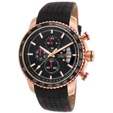 Lancaster Italy Men's Freedom Chronograph Black Genuine Leather And Dial Watch - LANCASTER-OLA1064L-RG-NR-NR - Realforlesscorp