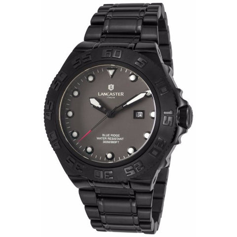 Lancaster Italy Men's Blue Ridge Black Ip Ss Grey Dial Watch - LANCASTER-OLA1062MB-BK-NR - Realforlesscorp
