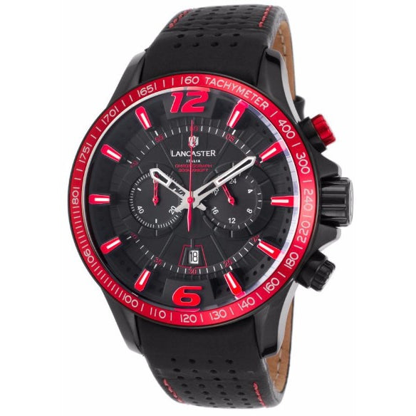 Lancaster Italy Ola Men's Hurricane Chronograph Black Genuine Leather Black Dial Watch - LANCASTER-OLA1063L-BK-NR-NR - Realforlesscorp