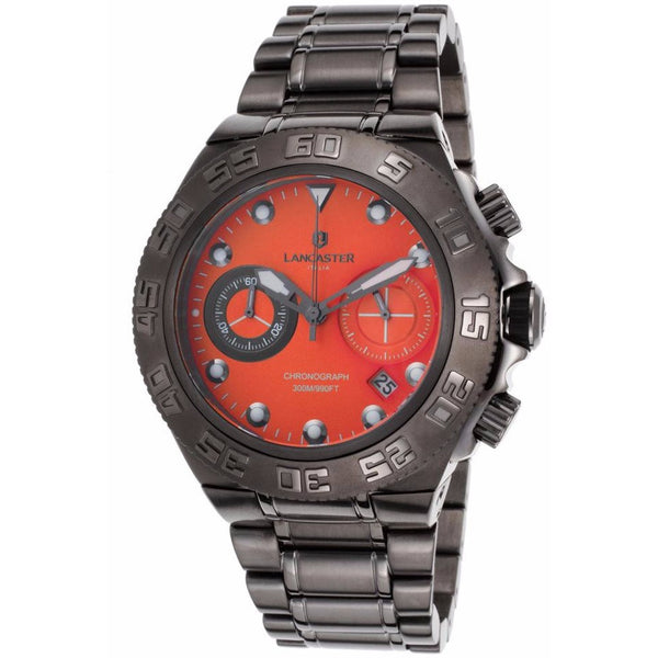 Lancaster Italy Men's Blue Ridge Chronograph Gunmetal Ion Plated Ss Orange Dial Watch - LANCASTER-OLA1061MB-GUN-AR - Realforlesscorp