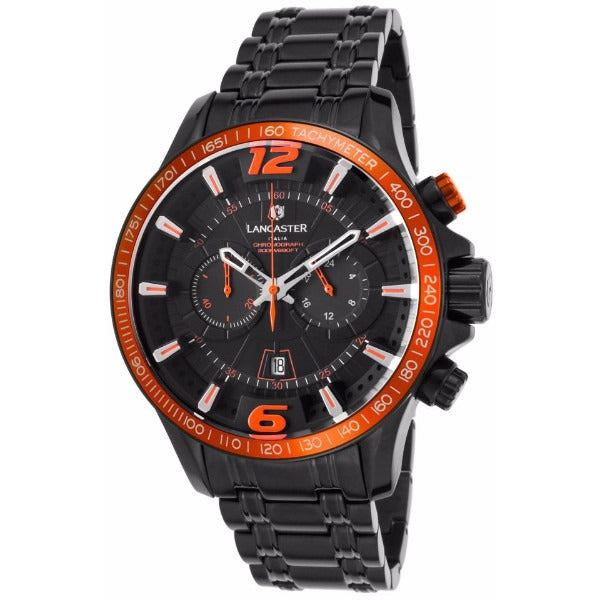 Lancaster Italy Men's Hurricane Chronograph Black Ip Ss Black Dial Orange Accents Watch - LANCASTER-OLA1063MB-BK-NR-AR - Realforlesscorp