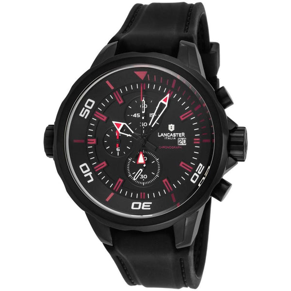 Lancaster Italy Men's Space Shuttle Chronograph Black Silicone And Dial Red Accents Watch - LANCASTER-OLA1065L-BK-NR-RS - Realforlesscorp