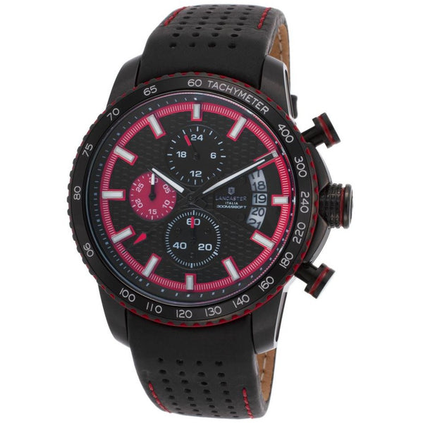 Lancaster Italy Men's Freedom Chronograph Black Genuine Leather And Dial Black Ip Ss Watch - LANCASTER-OLA1064L-BK-RS-NR - Realforlesscorp