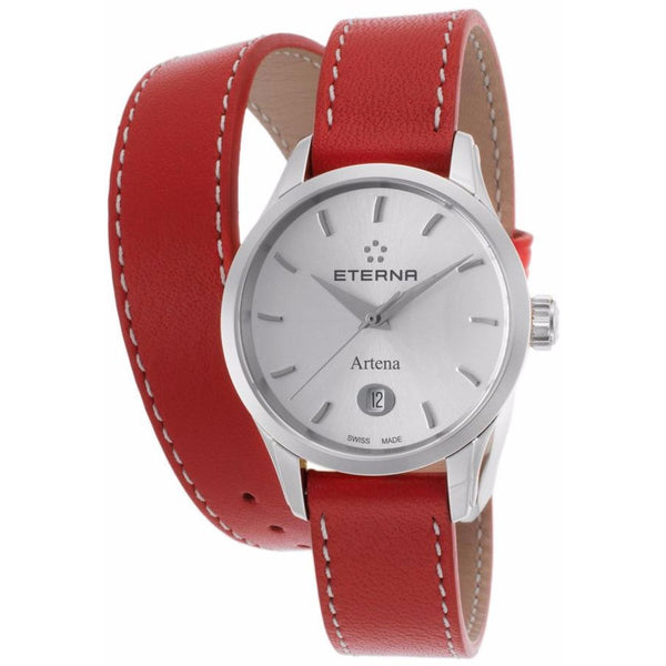 Eterna Women's Artena Red Genuine Leather Silver-Tone Dial Stainless Steel Watch - ETERNA-2530-41-10-1350 - Realforlesscorp