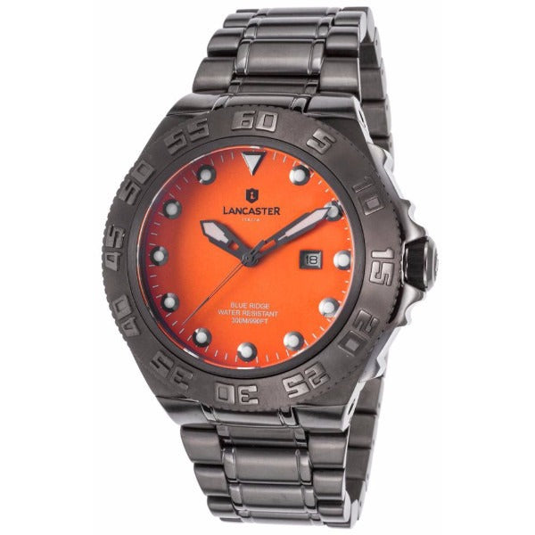 Lancaster Italy Men's Blue Ridge Gunmetal Ip Ss Orange Dial Watch - LANCASTER-OLA1062MB-GUN-AR - Realforlesscorp