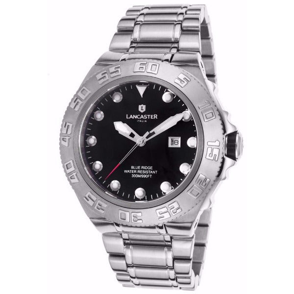 Lancaster Italy Men's Blue Ridge Stainless Steel Black Dial Watch - LANCASTER-OLA1062MB-SS-NR - Realforlesscorp