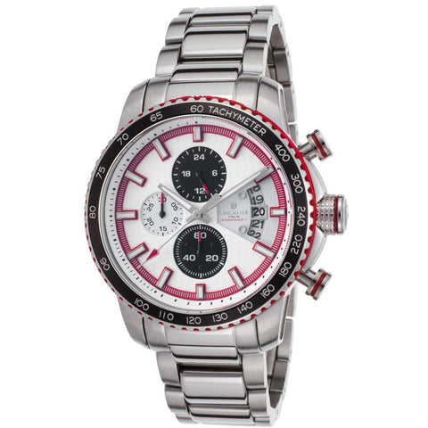 Lancaster Italy Men's Freedom Chronograph Stainless Steel White Dial Red Accent Watch - LANCASTER-OLA1064MB-SS-BN-RS - Realforlesscorp