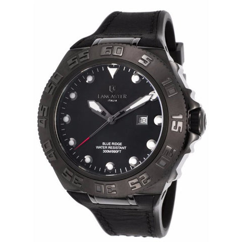 Lancaster Italy Men's Blue Ridge Black Rubber Black Dial Watch - LANCASTER-OLA1062-GUN-NR-NR - Realforlesscorp