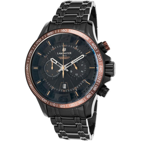 Lancaster Italy Ola1063mb-Bk-Nr-Mr Men's Hurricane Chronograph Black Ip Ss Black Dial Brown Accents Watch - LANCASTER-OLA1063MB-BK-NR-MR - Realforlesscorp
